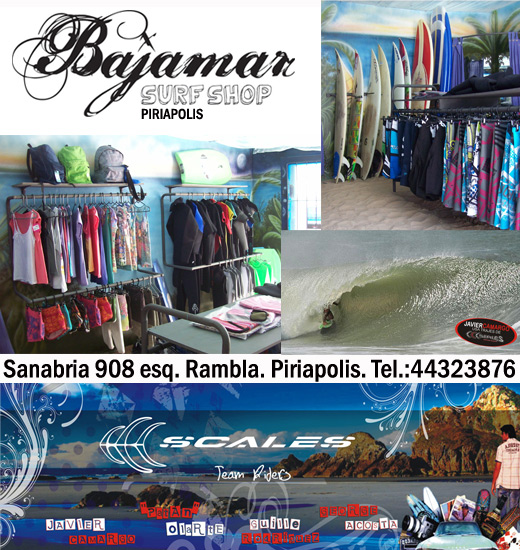 Surf shop Piriapolis, Bajamar